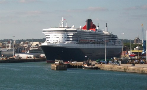 Queen Mary II following us out of Southampton